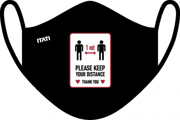 AIR Maske zertifiziert mit Aufdruck Abstand / Distance