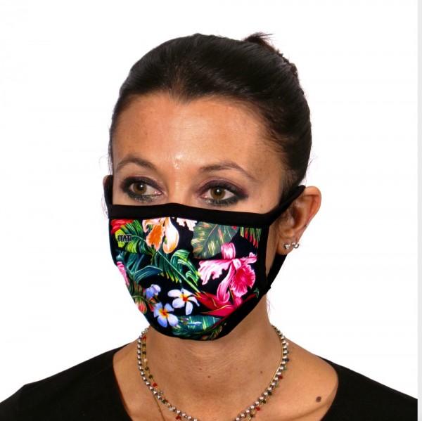 Maske Mundschutz Tropische Blüten