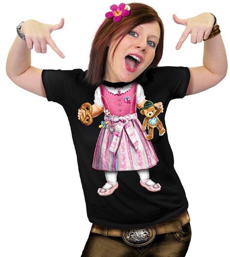 Damen T-Shirt - Baby-Dirndl schwarzes T-Shirt