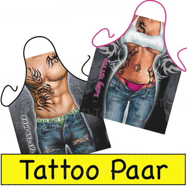 Schürzen Kombination Tattoo Paar ITATI-Textilien