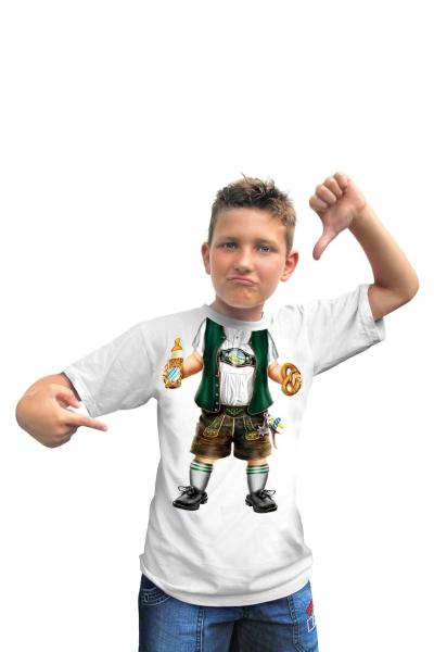 Kinder T-Shirt - Baby-Lederhose weiss