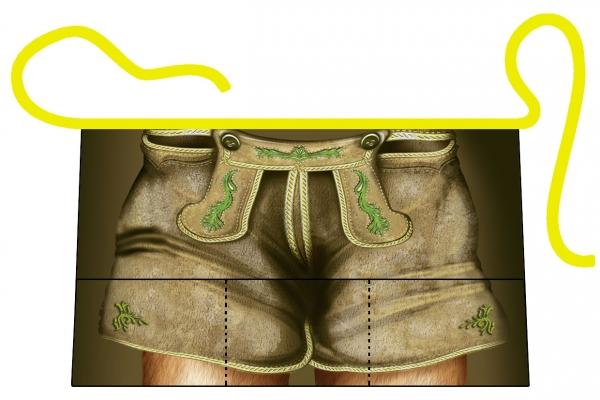 Halbschürze - Lederhose mit 3 Taschen