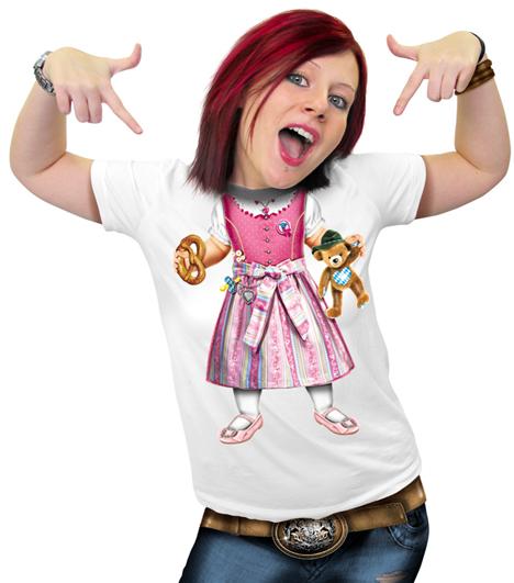 Damen T-Shirt - Baby-Dirndl weisses T-Shirt